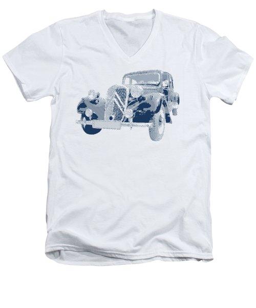 Citroen Traction Avant  - Parallel Hatching Men's V-Neck T-Shirt