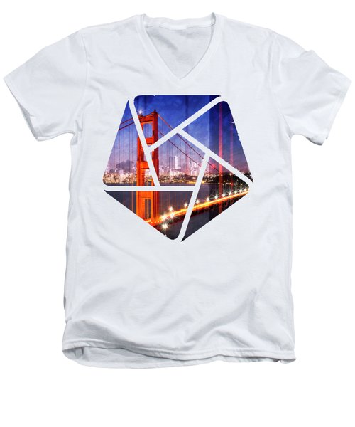 City Art Golden Gate Bridge Composing Men's V-Neck T-Shirt by Melanie Viola