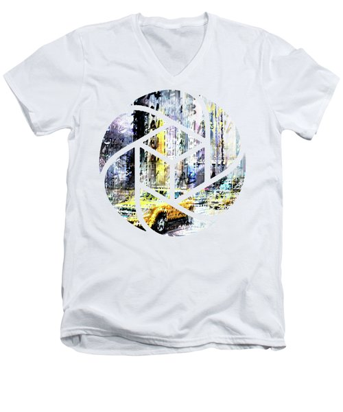 City-art Times Square Streetscene Men's V-Neck T-Shirt by Melanie Viola