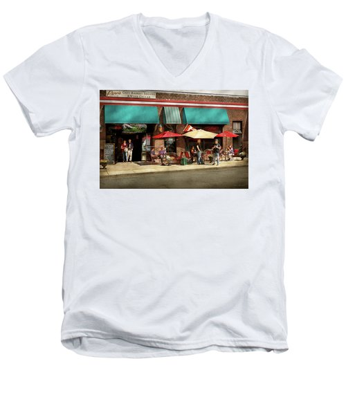Men's V-Neck T-Shirt featuring the photograph City - Edison Nj - Pino's Basket Shop by Mike Savad