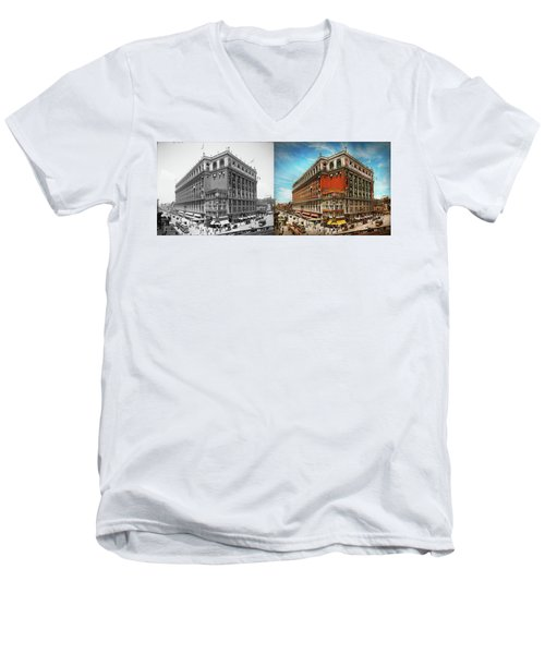 Men's V-Neck T-Shirt featuring the photograph City - Ny New York - The Nation's Largest Dept Store 1908 - Side by Mike Savad