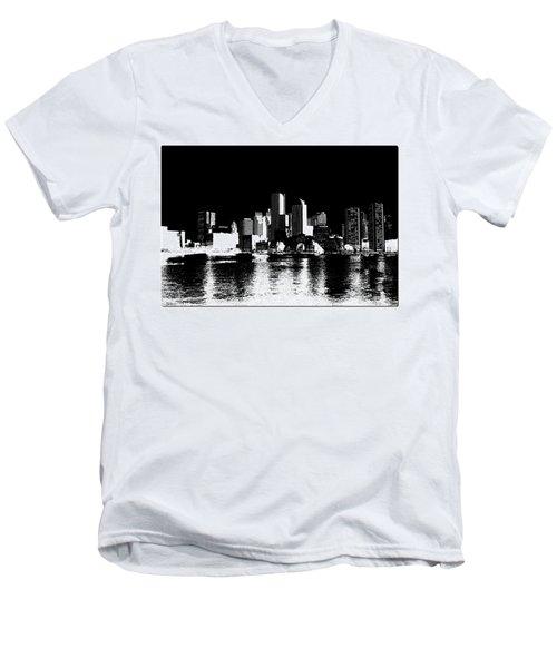 City Of Boston Skyline   Men's V-Neck T-Shirt by Enki Art