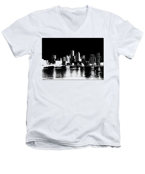 City Of Boston Skyline   Men's V-Neck T-Shirt