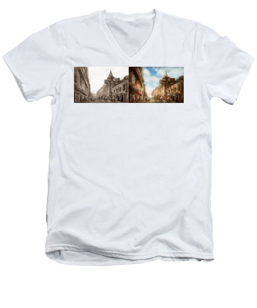 Men's V-Neck T-Shirt featuring the photograph City - Scotland - Tolbooth Operator 1865 - Side By Side by Mike Savad