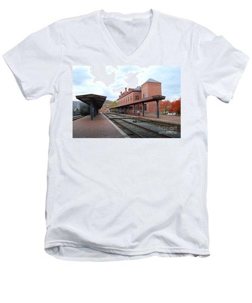 City Station Men's V-Neck T-Shirt by Eric Liller