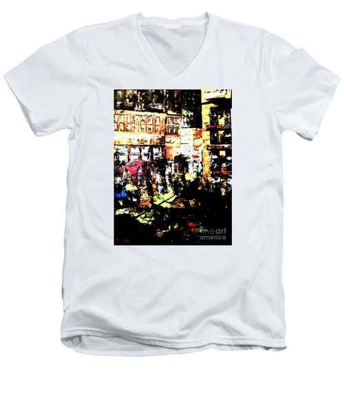 Men's V-Neck T-Shirt featuring the painting City Stroll by Denise Tomasura