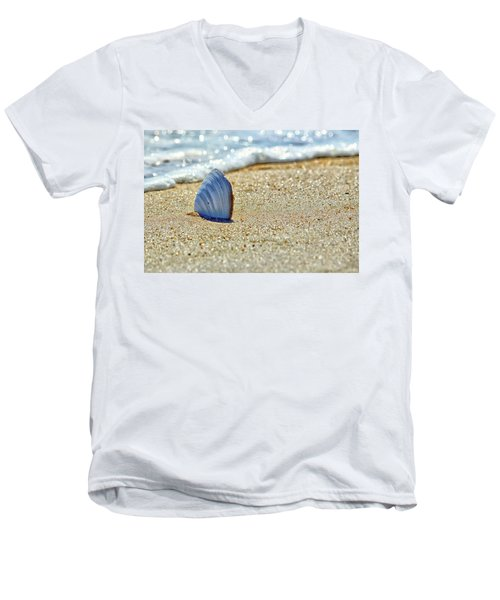 Clamshell In The Waves On Assateague Island Men's V-Neck T-Shirt