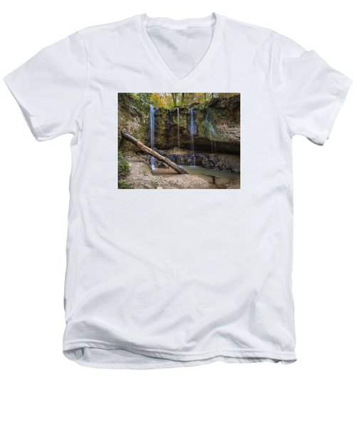 Men's V-Neck T-Shirt featuring the photograph Clark Creek Waterfall No. 1 by Andy Crawford