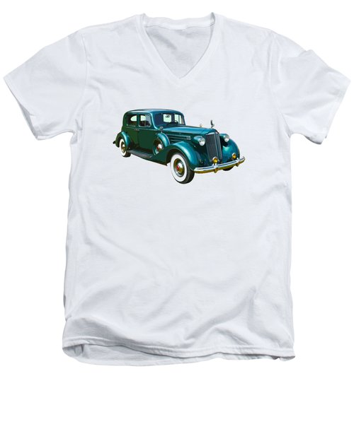 Classic Green Packard Luxury Automobile Men's V-Neck T-Shirt by Keith Webber Jr