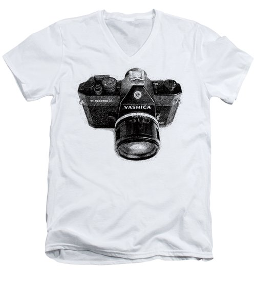 Men's V-Neck T-Shirt featuring the drawing Classic Yashica Slr Film Camera by Edward Fielding