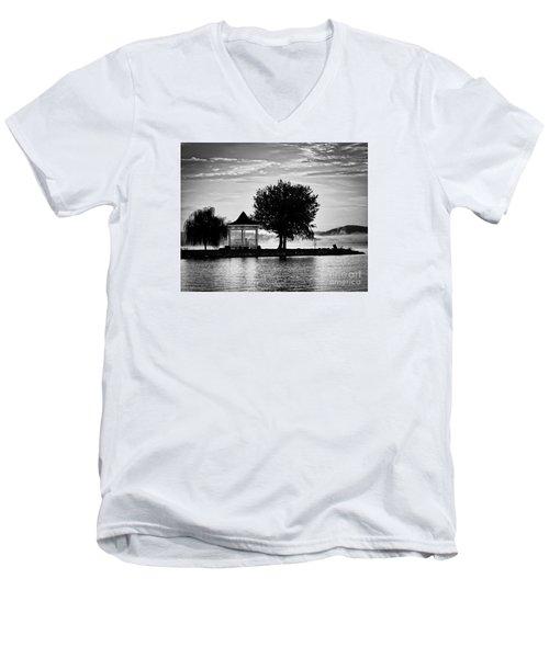 Claytor Lake Gazebo - Black And White Men's V-Neck T-Shirt