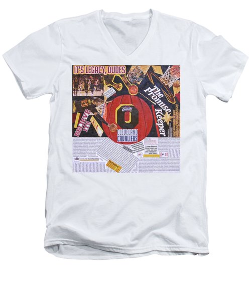Men's V-Neck T-Shirt featuring the painting Cleveland Cavaliers 2016 Champs by Colleen Taylor