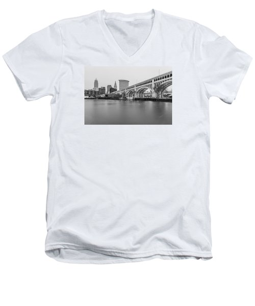 Cleveland Skyline In Black And White  Men's V-Neck T-Shirt