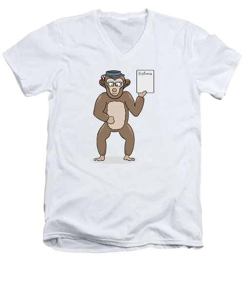 Clever Monkey With Diploma Men's V-Neck T-Shirt