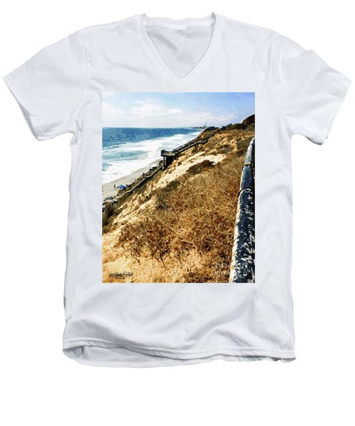Cliff View - Carlsbad Ponto Beach Men's V-Neck T-Shirt