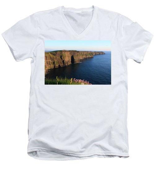 Cliffs Of Moher In Evening Light Men's V-Neck T-Shirt by Aidan Moran