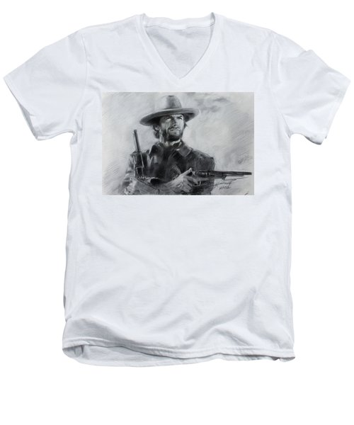 Men's V-Neck T-Shirt featuring the drawing Clint Eastwood by Viola El