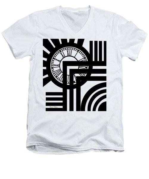 Clock Design Vertical Men's V-Neck T-Shirt