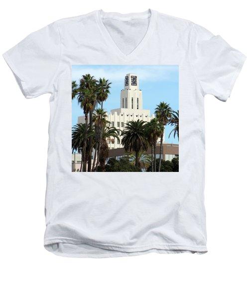 Clock Tower Building, Santa Monica Men's V-Neck T-Shirt