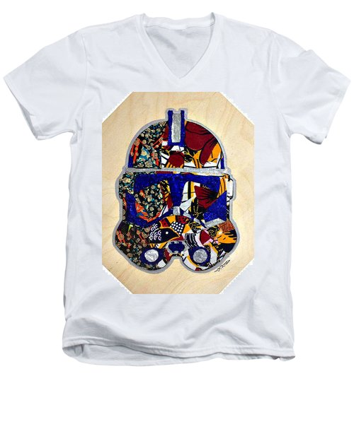Men's V-Neck T-Shirt featuring the tapestry - textile  Clone Trooper Star Wars Afrofuturist by Apanaki Temitayo M