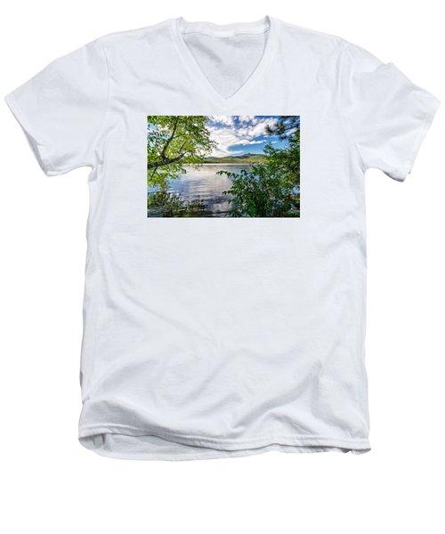 Cloud Swirl Mt. Chocorua Nh Men's V-Neck T-Shirt by Michael Hubley