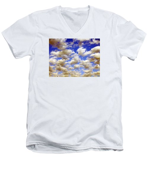 Men's V-Neck T-Shirt featuring the digital art Clouds Blue Sky by Jana Russon