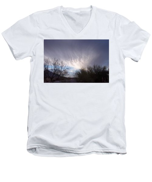 Clouds In Desert Men's V-Neck T-Shirt by Mordecai Colodner