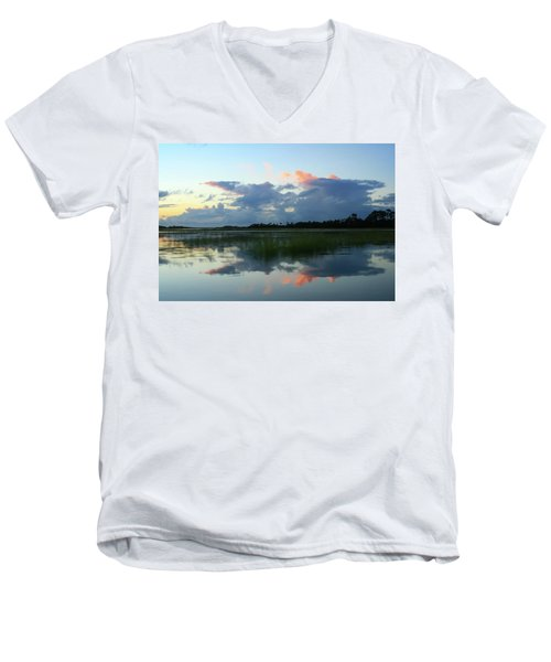 Men's V-Neck T-Shirt featuring the photograph Clouds Over Marsh by Patricia Schaefer