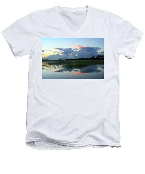 Clouds Over Marsh Men's V-Neck T-Shirt