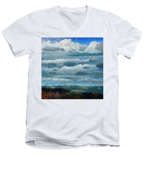 Men's V-Neck T-Shirt featuring the painting Clouds Over South Bay by Gary Coleman