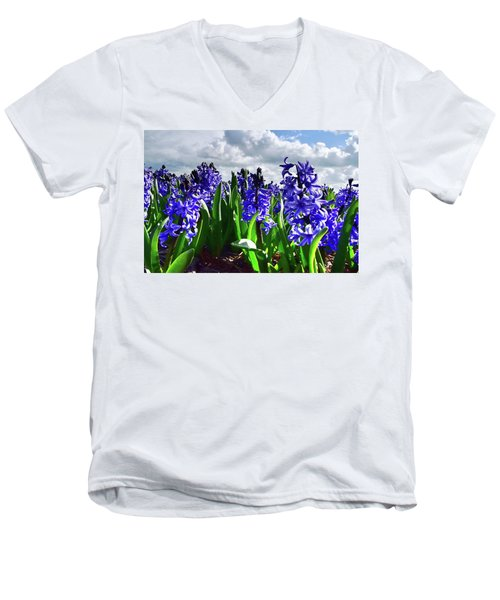 Clouds Over The Purple Hyacinth Field Men's V-Neck T-Shirt by Mihaela Pater