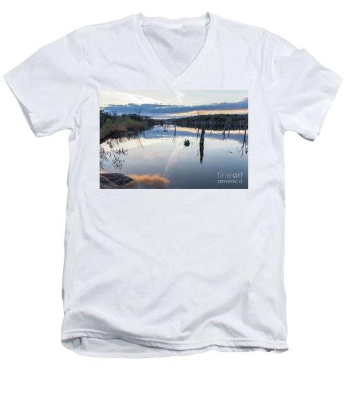 Clouds Reflecting On Large Lake During Sunset Men's V-Neck T-Shirt