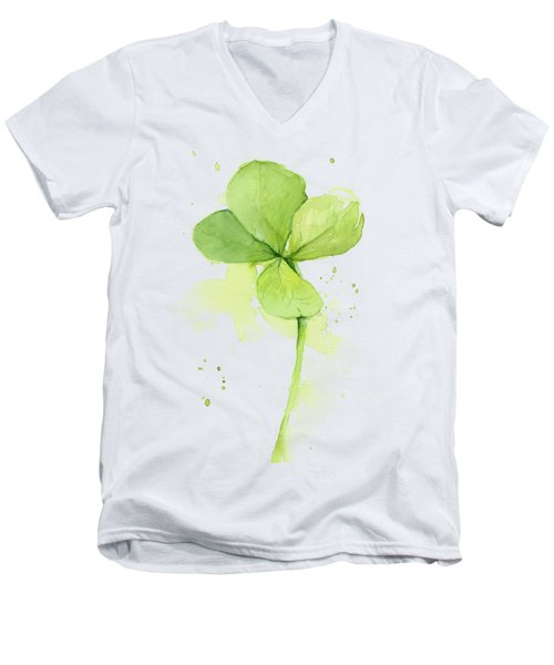 Clover Watercolor Men's V-Neck T-Shirt