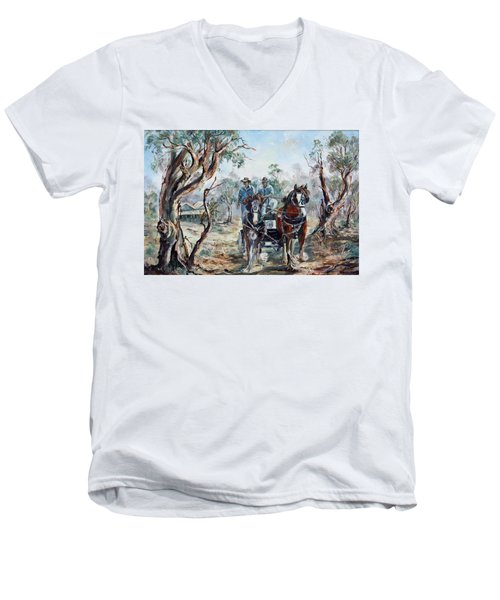 Clydesdales And Cart Men's V-Neck T-Shirt