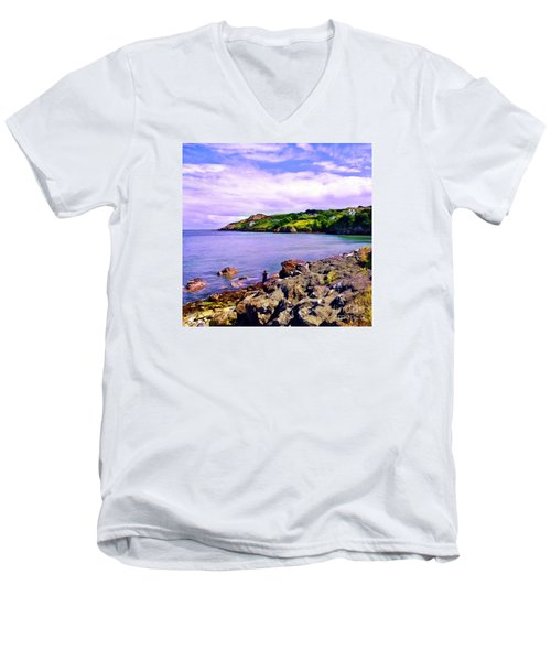 Rocky Coast At Howth Men's V-Neck T-Shirt by Judi Bagwell