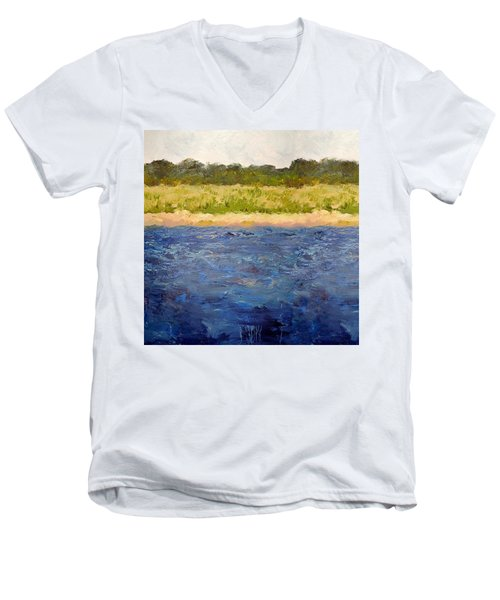 Men's V-Neck T-Shirt featuring the painting Coastal Dunes - Square by Michelle Calkins