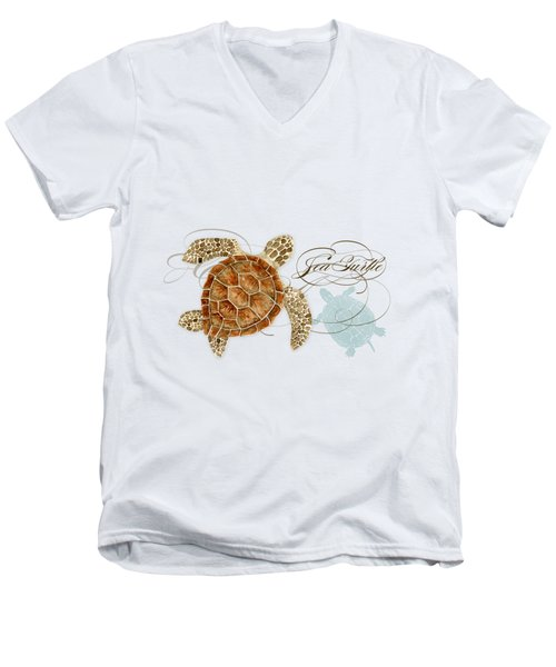 Coastal Waterways - Green Sea Turtle Rectangle 2 Men's V-Neck T-Shirt by Audrey Jeanne Roberts