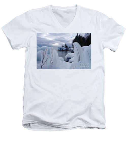 Coated With Ice Men's V-Neck T-Shirt by Sandra Updyke