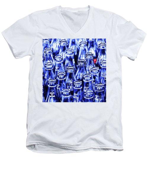Coca-cola Coke Bottles - Return For Refund - Square - Painterly - Blue Men's V-Neck T-Shirt
