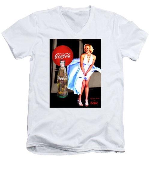 Coca Cola Girl Marilyn Men's V-Neck T-Shirt