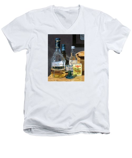 Men's V-Neck T-Shirt featuring the painting Cocktails And Mustard by Lynne Reichhart