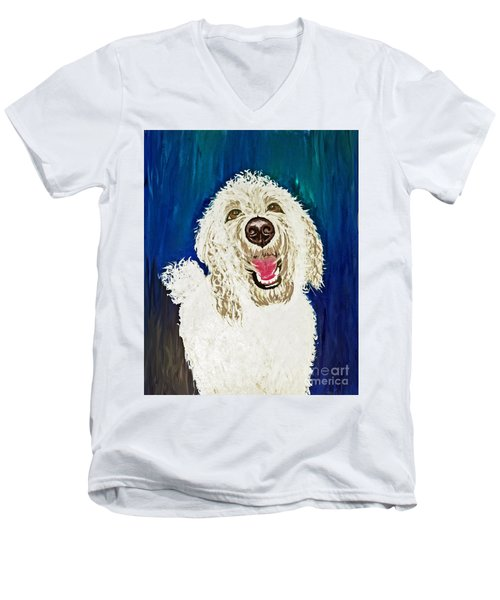 Men's V-Neck T-Shirt featuring the painting Coco  by Ania M Milo