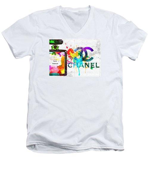 Coco Chanel No. 5 Grunge Men's V-Neck T-Shirt by Daniel Janda