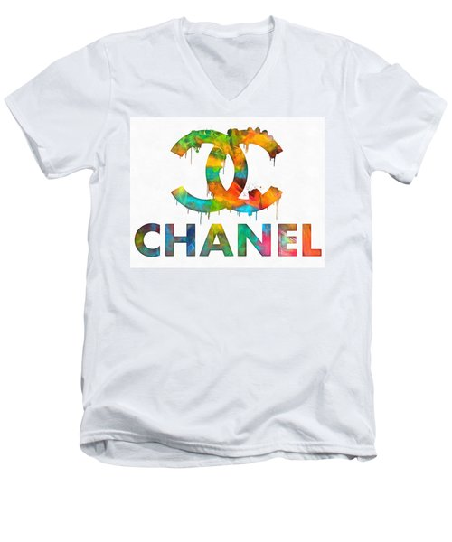 Coco Chanel Paint Splatter Color Men's V-Neck T-Shirt by Dan Sproul