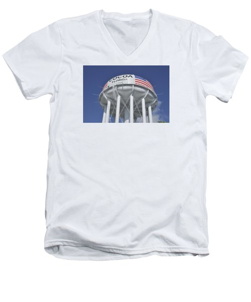 Cocoa Florida Water Tower Men's V-Neck T-Shirt by Bradford Martin