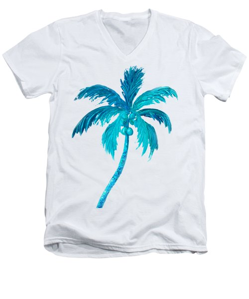 Coconut Palm Tree Men's V-Neck T-Shirt by Jan Matson
