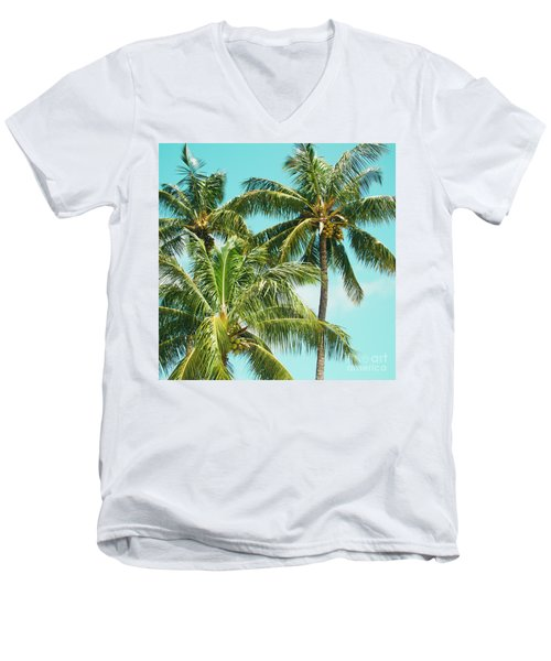 Coconut Palm Trees Sugar Beach Kihei Maui Hawaii Men's V-Neck T-Shirt by Sharon Mau