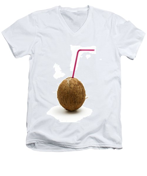 Coconut With A Straw Men's V-Neck T-Shirt