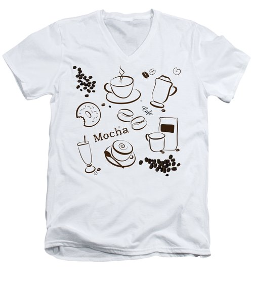 Coffee And Cafe Background Men's V-Neck T-Shirt