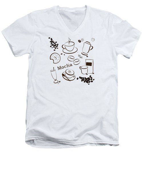 Coffee/cafe Pattern Background Men's V-Neck T-Shirt by Serena King